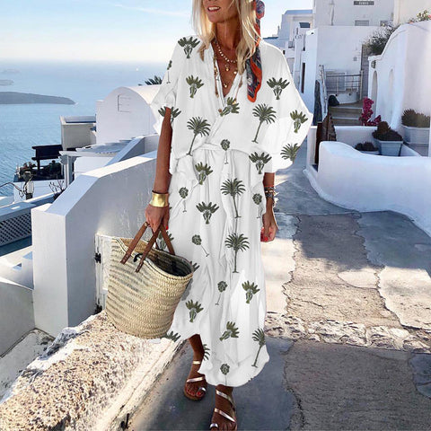 2019 V Neck Vacation Printed Half Sleeve Loose Maxi Dress