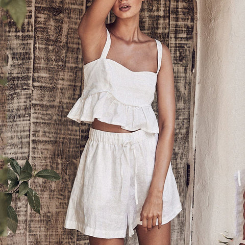 Solid Color Cotton And Linen Sleeveless Vest Top Shorts Suit