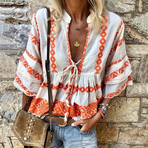 Women's Ethnic Style Print Stitching V-Neck Top