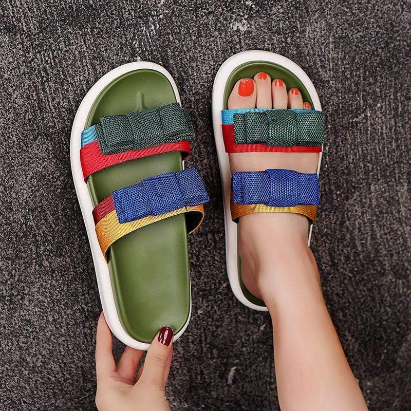 Fashion Wild Color Matching Platform Casual Slippers