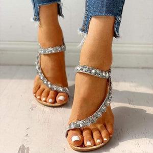 Wedge Flat Sandals, Toe Rhinestones, Large Size Sandals