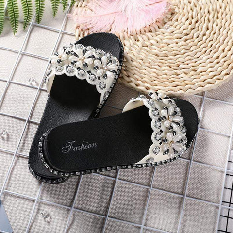 Summer Wearing Flat Sequined Word Sandals