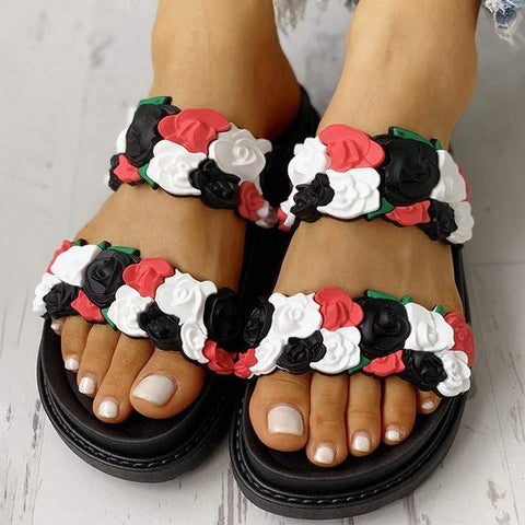 Rose Platform Fashion Flat Sandals And Slippers