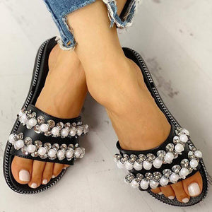 Non-Slip Female Pearl Indoor Home Slippers