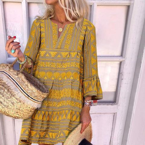 Boho Three Quarter Flared Sleeve Loose Print Casual Vacation Mini Dress