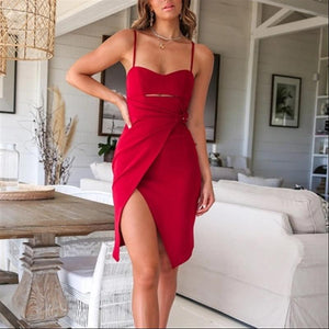 Sexy Tube Top Solid Color Waist Dress(Video)
