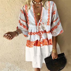 Fashion V-Neck Printed Five-Points Sleeve Loose Casual Mini Dresses