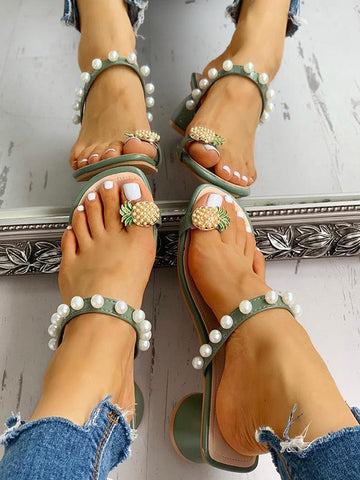 Women's fashion casual toe pearl solid color slippers
