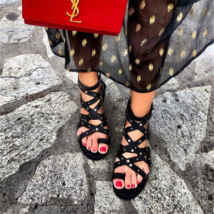 Star Rivets Zipper Flat Sandals