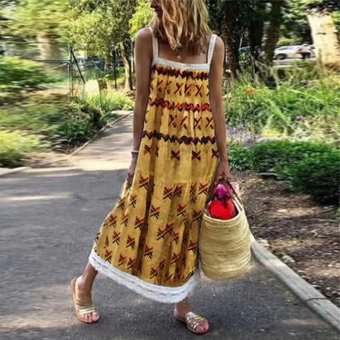Fashion Strap Printed Sleeveless Dresses