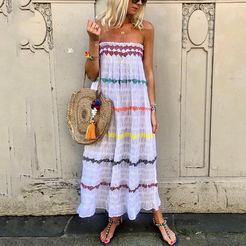 Bohemian Printed Color Boat Neck Loose Vacation Casual Maxi Dress