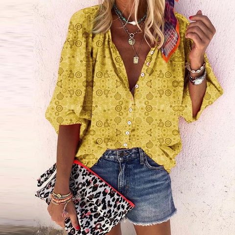 Casual Trumpet Sleeves Abstract Style Print Single-Breasted Blouse Shirt