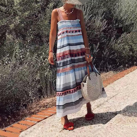 Fashion Strap Fringe Striped Printed Vacation Casual Maxi Dresses