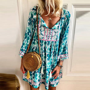 Bohemian V Neck Tassel Loose Casual Mini Dress