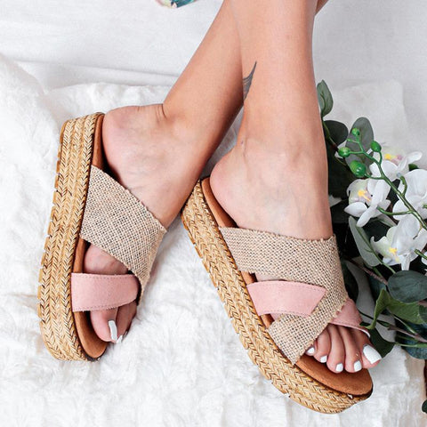 Casual Mixed Color Platform Shoes Slippers Sandals