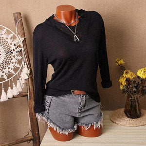 Casual Lace V Neck Pure Colour Loose Sweater