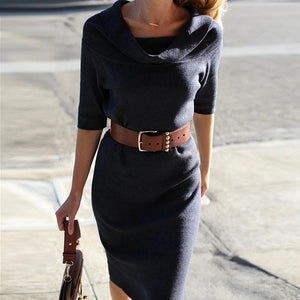 Commuting Pure Colour Long Sleeve Bodycon Dress
