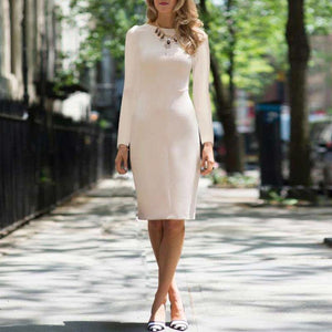 Elegant Round Neck Pure Colour Long Sleeve Bodycon Dress