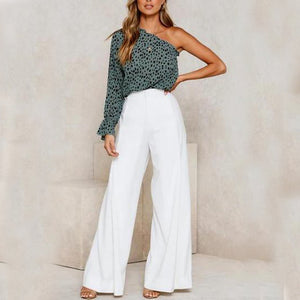 One-Shoulder Sexy Print Top Wide-Leg Pants Two-Piece Suit(Video)