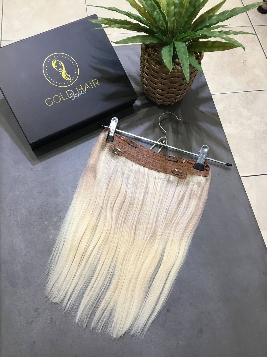Light Blonde Halo Clip-in Hair Extensions 14""
