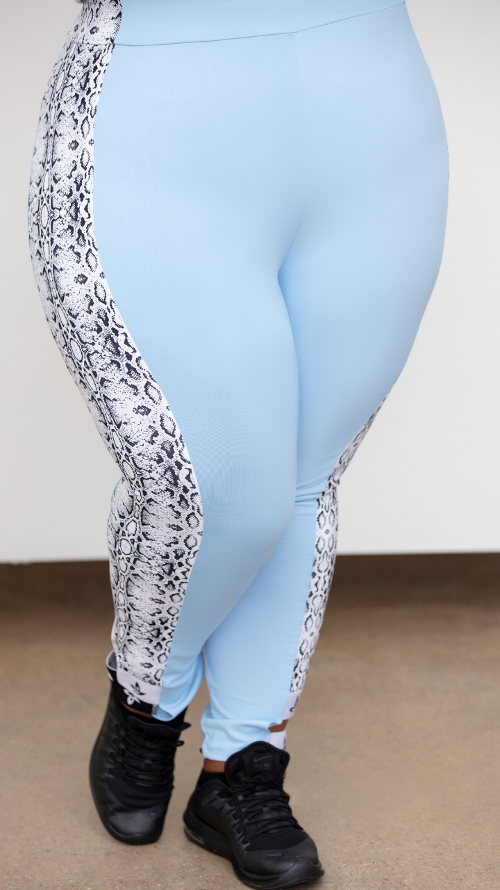 Light Blue Cutout Leggings