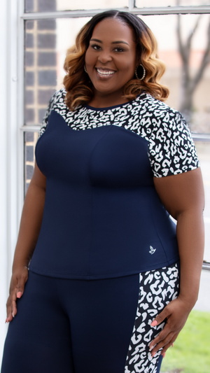 Navy Leopard Peplum Top