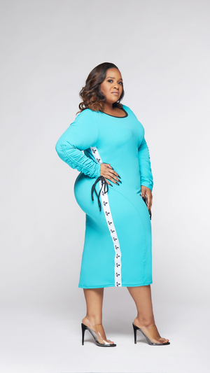 Long Sleeve Midi Active Dress (Turquoise)