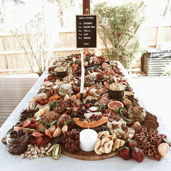 grazing table for wedding day