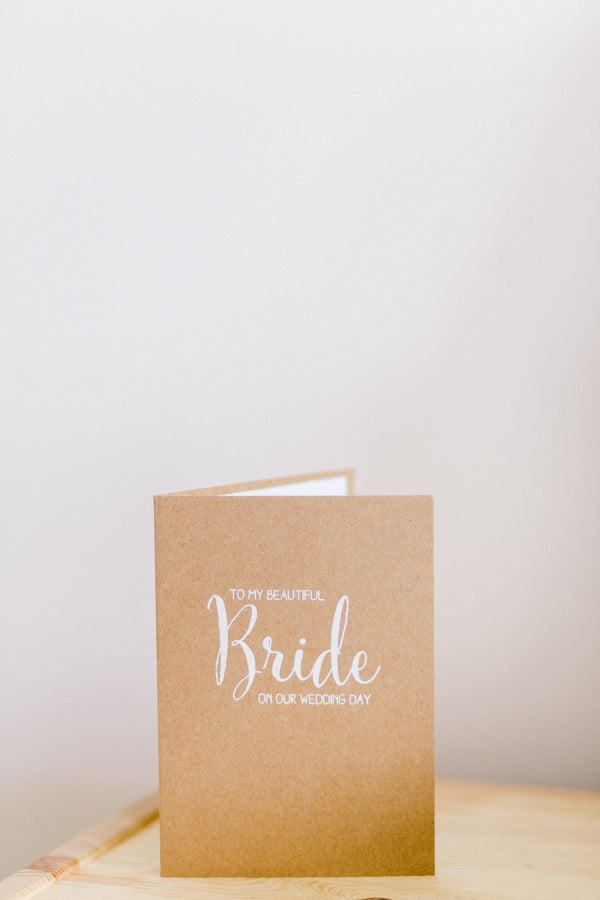 wedding card on table for bride