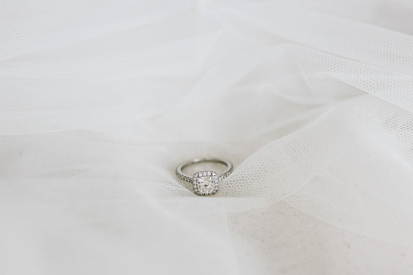 wedding ring on tulle veil