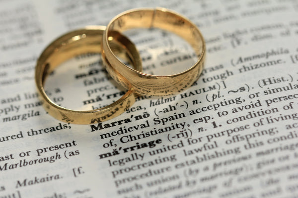 wedding rings on top of dictionary