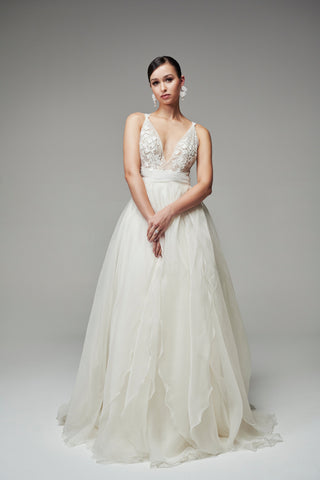 v neck wedding gown with layered silk organza skirt and tie up back