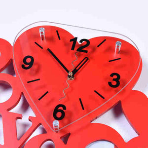 Beautiful Large Red Heart Design Wall Clock and Photo Frame