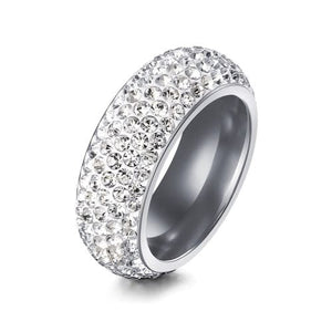 Titanium Ring with Simulated Pave Setting Diamonds Size 10 / 11