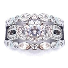 Load image into Gallery viewer, EXQUISITE! 2.55ct Solitaire & Accents 3 Piece Wedding Ring Set. Size 8.75 (R) / Size 6.75 (N)