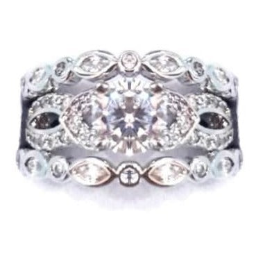 EXQUISITE! 2.55ct Solitaire & Accents 3 Piece Wedding Ring Set. Size 8.75 (R) / Size 6.75 (N)