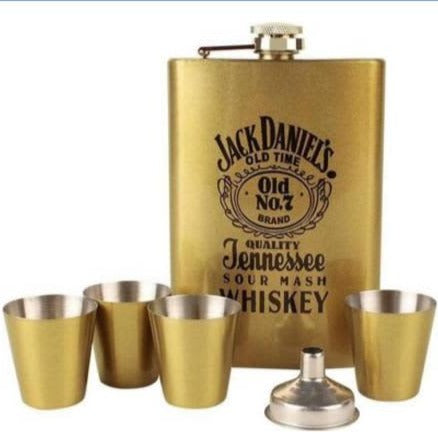 JACK DANIELS WHISKEY Hip Flask Set (Stainless Steel) in Gift Box