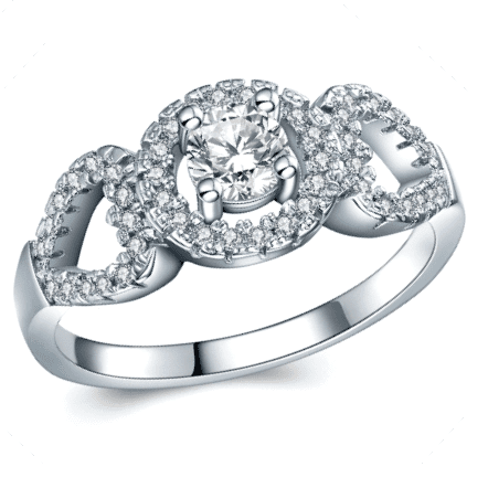 1.05ct Cr.Diamond Pave Halo Engagement Ring. Size 8|q