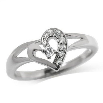 0.11ct Cubic Zirconia Heart Ring 925 Sterling Silver. Size 8 (Q|18mm)