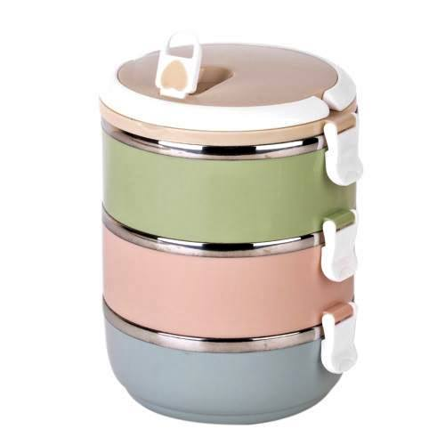 Portable Thermal Insulated Stainless Steel Triple Layer Lunch Box