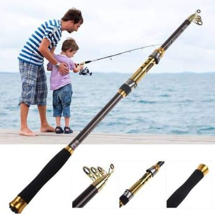 2.1 M Pro Portable Telescopic Fishing Rod Travel Spinning Fishing Pole Carbon