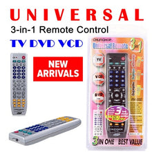 Load image into Gallery viewer, Universal TV Remote 3 in 1 , TV, DVD, VCD