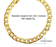 Load image into Gallery viewer, Unisex Stainless Steel Gold Filled Cuban Link Chain Bracelet 21cm