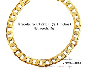Unisex Stainless Steel Gold Filled Cuban Link Chain Bracelet 21cm