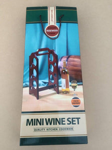 Wine Rack Elegant Rosewood Finish Collapsible Mini Wine Set