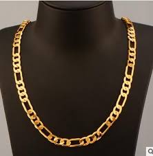Heavy  Stainless Steel Gold Filled Figaro Men's Chain Necklace