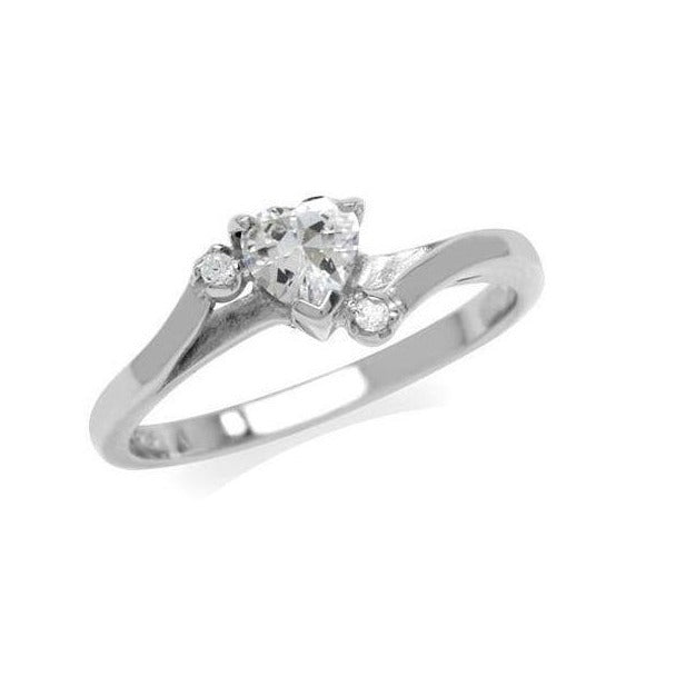 0.94ct Cubic Zirconia Heart 925 Sterling Silver Ring - Size 7 | N-O | 17.3mm Diameter