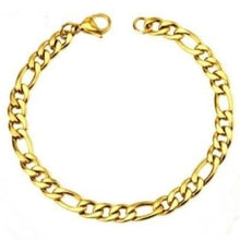 Load image into Gallery viewer, Stainless Steel Gold Filled Figaro Men's Chain Bracelet 22cm