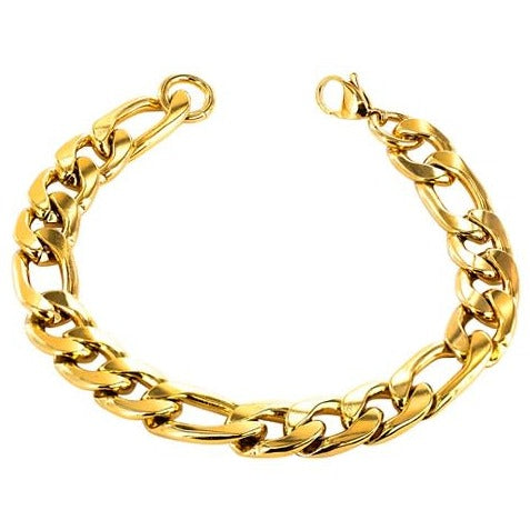 Stainless Steel Gold Filled Figaro Men's Chain Bracelet 22cm