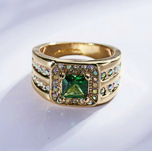 Load image into Gallery viewer, Gold Filled Ring with 2.00 Carat Simulated Emerald Size 7 Us